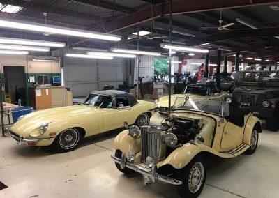 XKE-and-MGTD-at-Motorcars-Ltd.